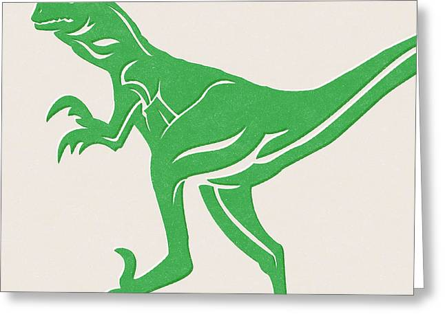 T-rex Greeting Card by Linda Woods