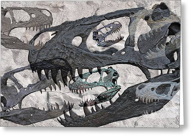 Dinosaurs Digital Mixed Media Greeting Cards - T-Rex - Photo Composite Greeting Card by Steve Ohlsen