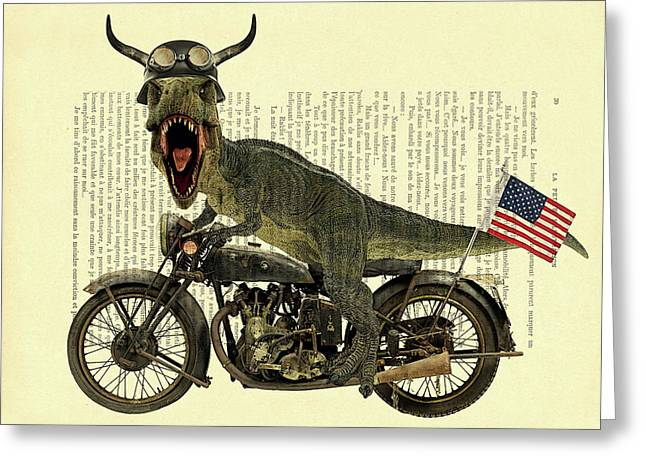 T Rex Riding His Harley, Dictionary Print Greeting Card by Madame Memento
