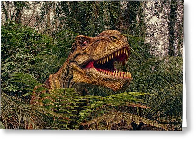 Dinosaurs Greeting Cards - T-rex Greeting Card by Sharon Lisa Clarke