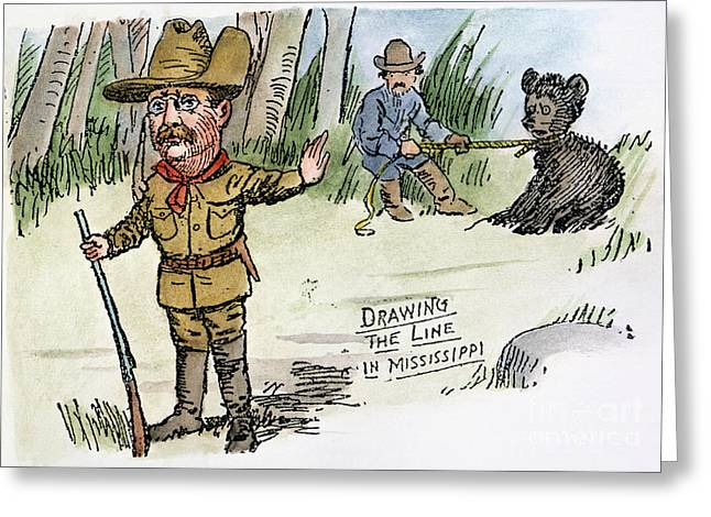 Republican Greeting Cards - T. Roosevelt: Teddy Bear Greeting Card by Granger