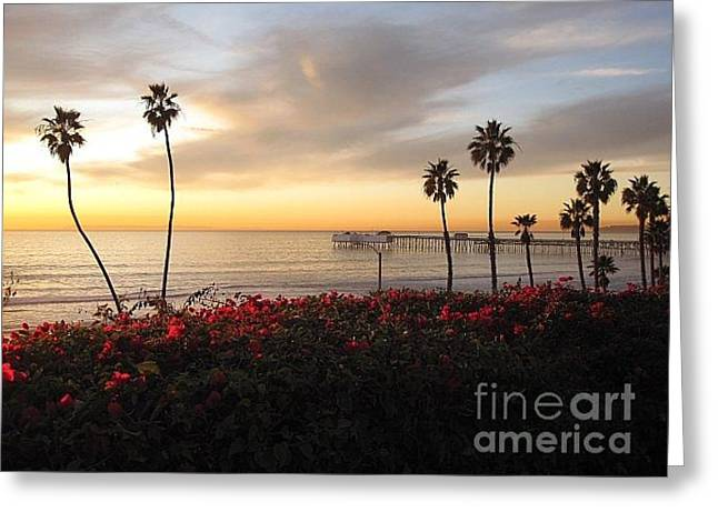 Clemente Greeting Cards - T-Street Sunset Greeting Card by Carrie V