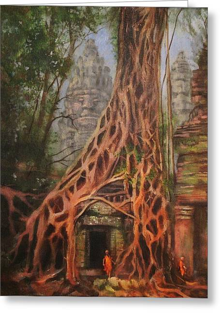 Ancient Ruins Paintings Greeting Cards - Ta Prohm Cambodia Greeting Card by Tom Shropshire