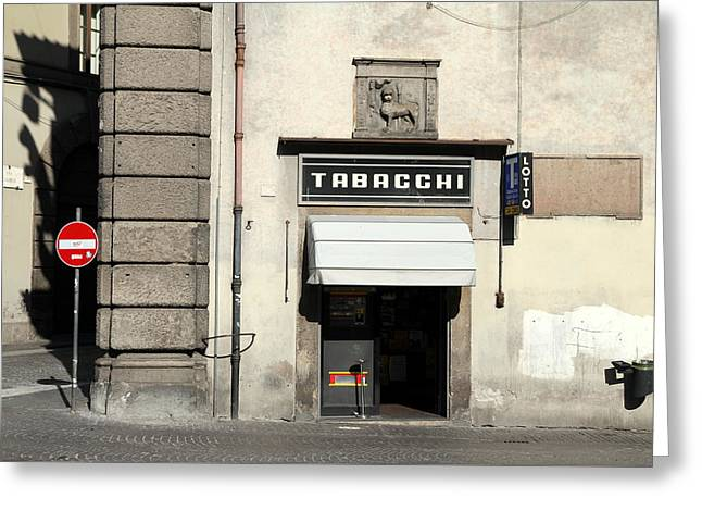 Tobacconist Greeting Cards - Tabacchi Greeting Card by Valentino Visentini