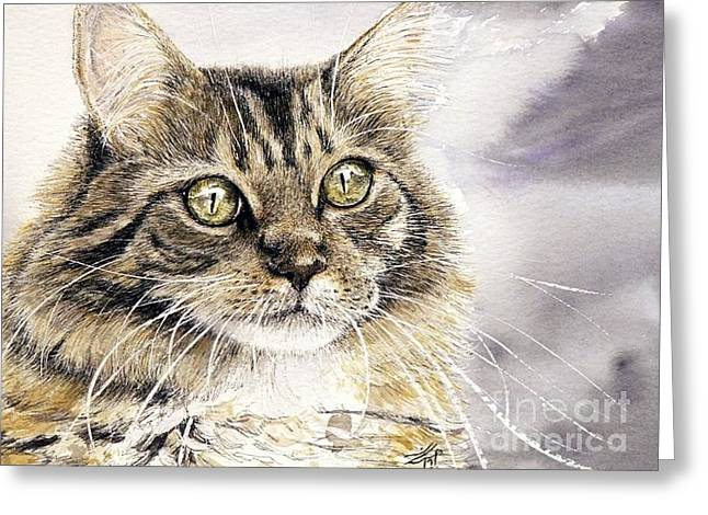 Cat Drawings Greeting Cards - Tabby Cat Jellybean Greeting Card by Keran Sunaski Gilmore