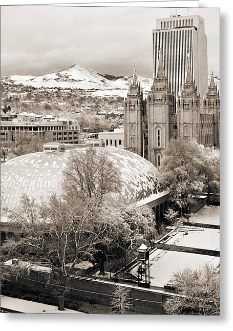 Mormon Tabernacle Greeting Cards - Tabernacle and Temple Greeting Card by Marilyn Hunt
