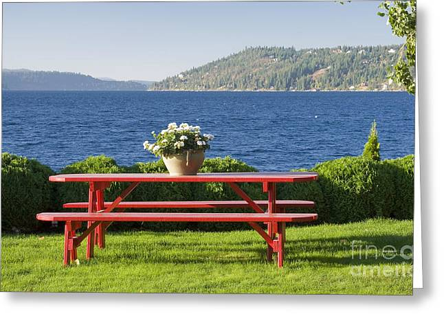 Basket Pot Greeting Cards - Table by the Lake Greeting Card by Idaho Scenic Images Linda Lantzy