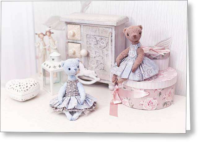 Toy Shop Greeting Cards - Table decorations with bears and boxses shabby interior Greeting Card by Oksana Ariskina