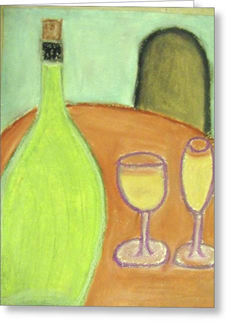 Dine Pastels Greeting Cards - Table for one Greeting Card by Gail Sheley - Davenport