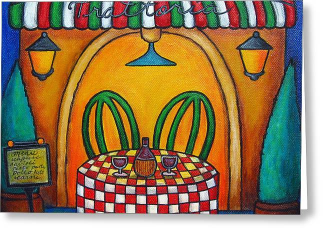 Italian Restaurant Greeting Cards - Table for Two at the Trattoria Greeting Card by Lisa  Lorenz