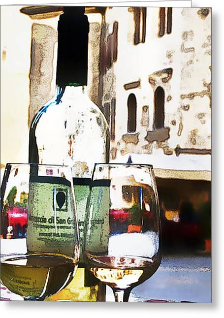 Wine-bottle Digital Greeting Cards - Table for Two Greeting Card by Barb Pearson