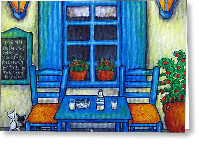 Blue Cat Greeting Cards - Table for Two in Greece Greeting Card by Lisa  Lorenz