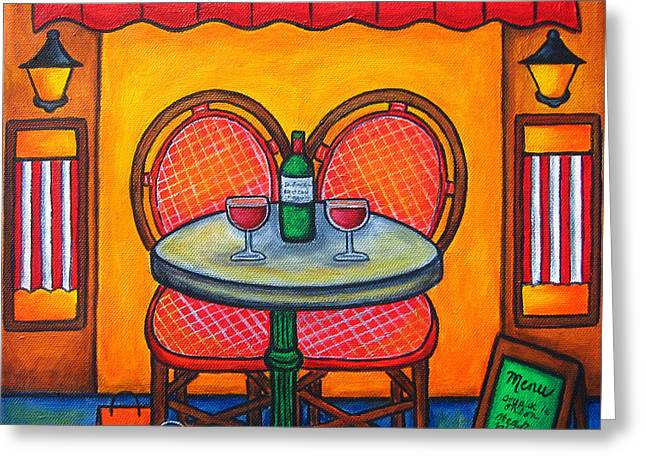 Lisa Lorenz Paintings Greeting Cards - Table for Two in Paris Greeting Card by Lisa  Lorenz