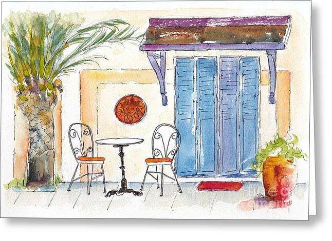 Table And Chairs Greeting Cards - Table For Two Greeting Card by Pat Katz