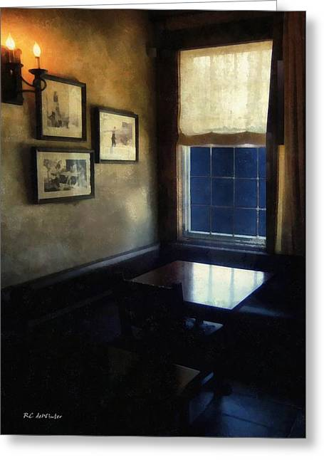 Candle Lit Greeting Cards - Table in Moonlight and Blue Greeting Card by RC deWinter