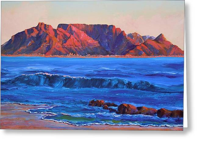 Sout Greeting Cards - Table Mountain Aglow Greeting Card by Anastasia  Ealy