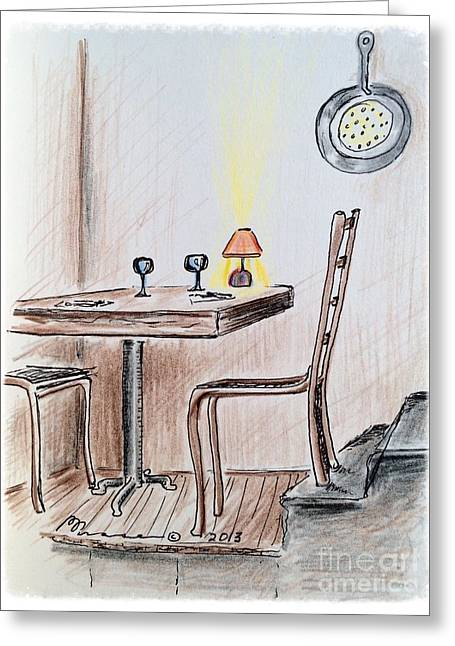 Table Wine Drawings Greeting Cards - Table on the Landing Greeting Card by Barbara Chase