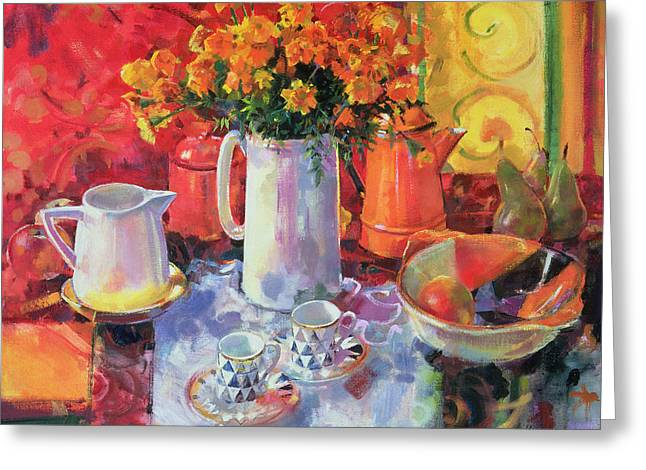 Teapot Paintings Greeting Cards - Table Reflections Greeting Card by Peter Graham