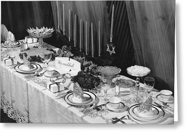 Festival Of Light Greeting Cards - Table Set For Hanukkah Greeting Card by Underwood Archives