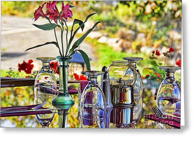 Glass Table Reflection Photographs Greeting Cards - Table Setting Reflections signed 3041 18x24 Greeting Card by Jack Schultz