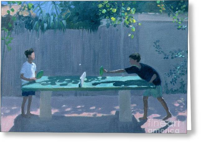 Ping Pong Greeting Cards - Table Tennis Greeting Card by Andrew Macara