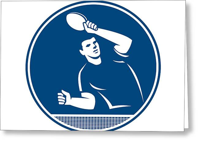 Table Tennis Racket Greeting Cards - Table Tennis Player Serving Circle Icon Greeting Card by Aloysius Patrimonio