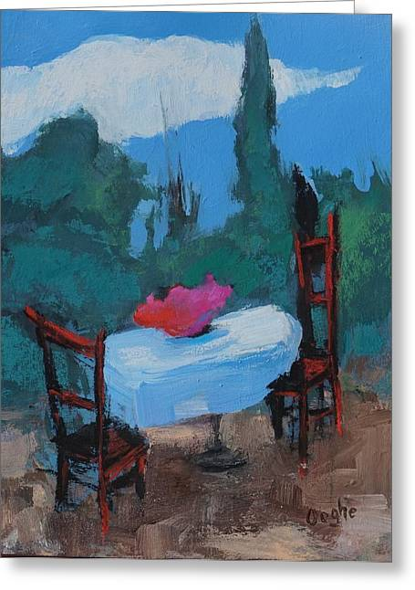 Surreal Landscape Greeting Cards - Table with Flowers Greeting Card by Angela Ooghe