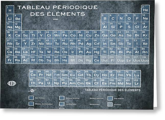 Tableau Periodiques Periodic Table Of The Elements Vintage Chart Blue Greeting Card by Tony Rubino