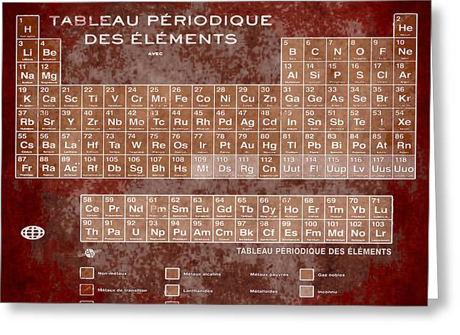 Tableau Periodiques Periodic Table Of The Elements Vintage Chart Sepia Red Tint Greeting Card by Tony Rubino