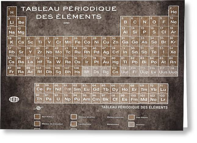 Tableau Periodiques Periodic Table Of The Elements Vintage Chart Sepia Greeting Card by Tony Rubino