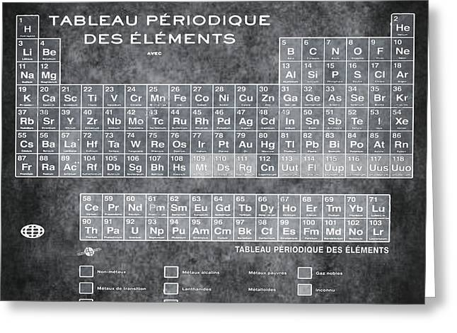Tableau Periodiques Periodic Table Of The Elements Vintage Chart Silver Greeting Card by Tony Rubino