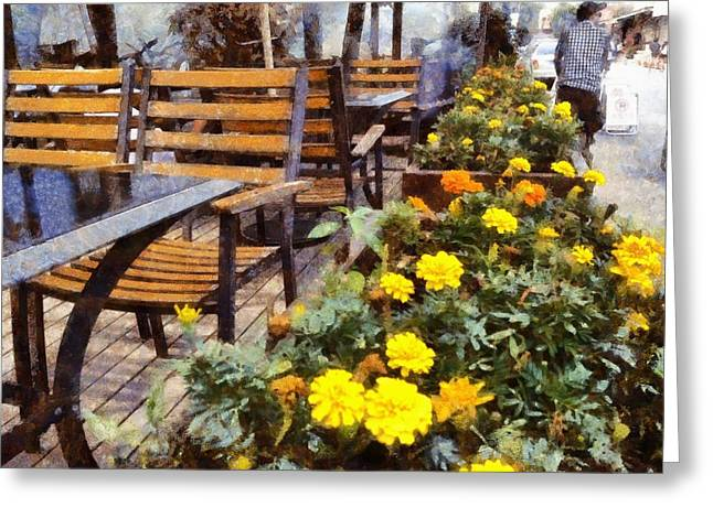 Tables And Chairs With Flowers Greeting Card by Ashish Agarwal