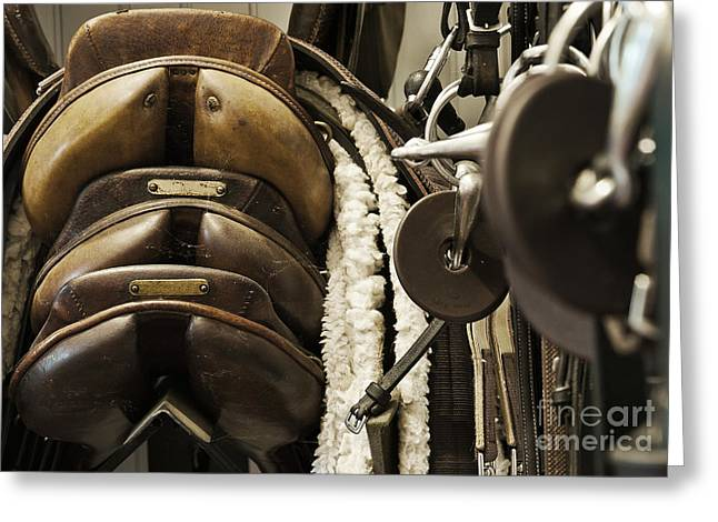 Equipment Greeting Cards - Tac Room Saddles Greeting Card by John Greim