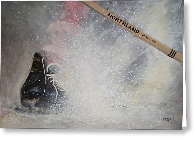 Youth Hockey Paintings Greeting Cards - Tacks Greeting Card by Ron  Genest