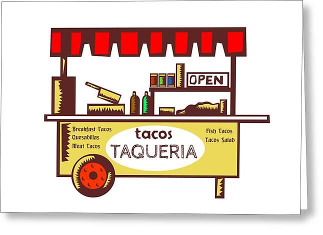 Taco Stand Taqueria Stand Woodcut Greeting Card by Aloysius Patrimonio