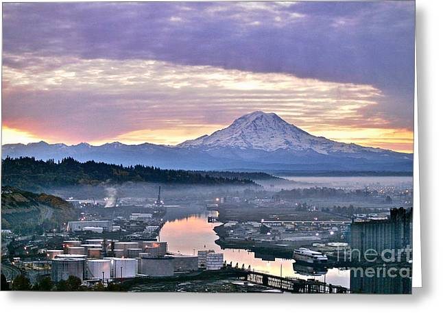 Sean Griffin Greeting Cards - Tacoma Dawn Greeting Card by Sean Griffin