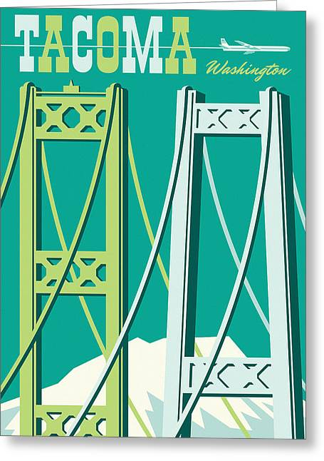 Tacoma Vintage Style Travel Poster Greeting Card by Jim Zahniser