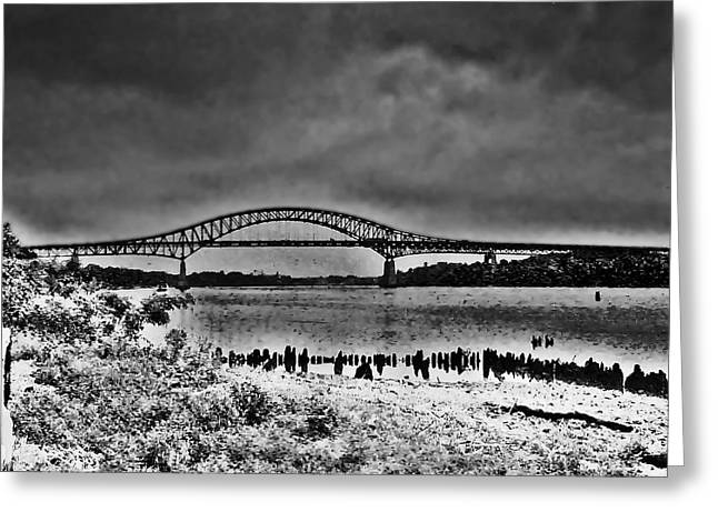 Philadelphia Digital Art Greeting Cards - Tacony Palmyra Bridge in B and W Greeting Card by Bill Cannon