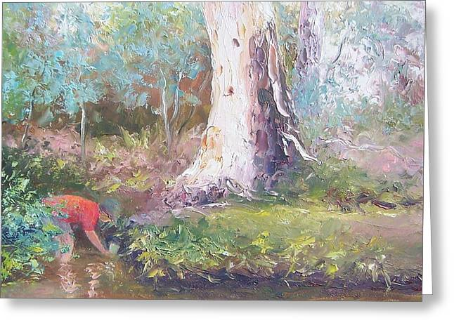Tad Poling By The River Greeting Card by Jan Matson