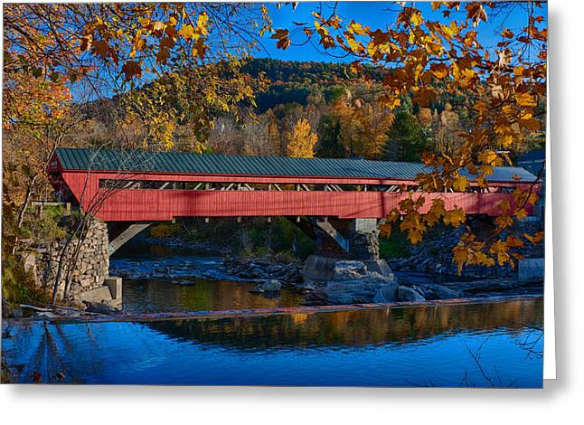 Taftsville Covered Bridge In Autumn Colors Greeting Card by Jeff Folger