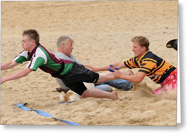 Tag Beach Rugby Competition Greeting Card by David  Hollingworth