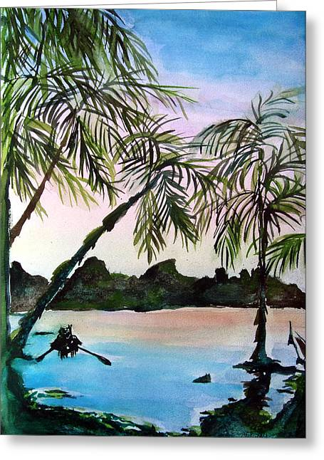 South Pacific Drawings Greeting Cards - Tahiti Greeting Card by Mindy Newman