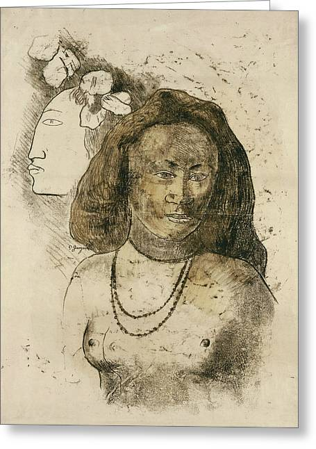 Tahitian Woman With Evil Spirit Greeting Card by Paul Gauguin