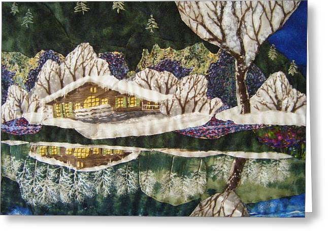 Pine Needles Tapestries - Textiles Greeting Cards - Tahoe Cabin Greeting Card by Shirley Goss