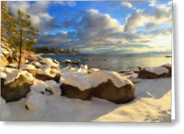 Winter Storm Greeting Cards - Tahoe In Winter Greeting Card by Jonathan Nguyen