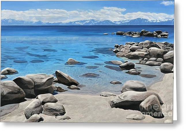 Abstract Nature Greeting Cards - Tahoe Shoreline Greeting Card by Carina Mascarelli
