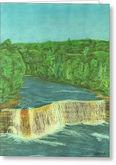 Locations Pastels Greeting Cards - Tahquamenon Falls Greeting Card by Walter James Artist