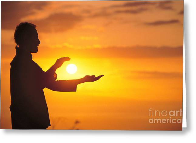 Athletic Sport Greeting Cards - Tai Chi At Sunset Greeting Card by Joe Carini - Printscapes