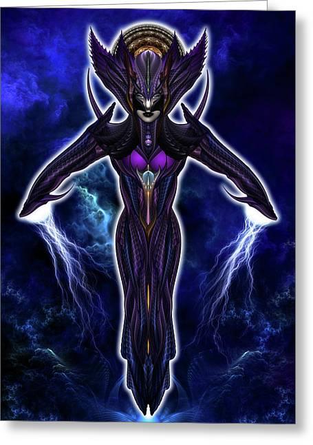 Taidushan Empress Chinsisha Warrior Goddess Fractal Portrait Greeting Card by Xzendor7