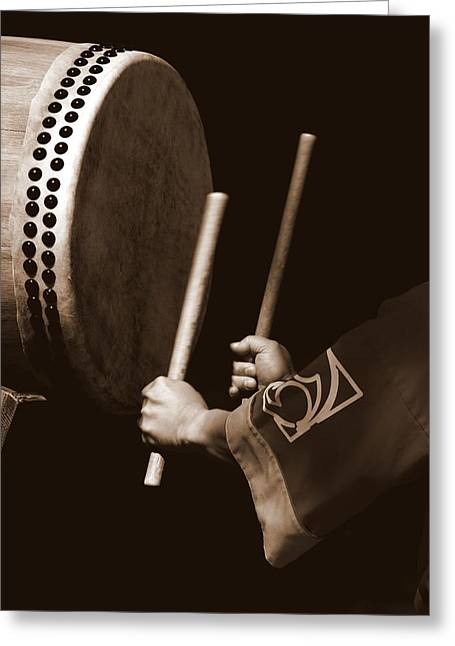 Drummers Photographs Greeting Cards - Taiko Drummer Greeting Card by Bill Keiran